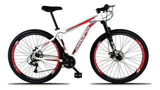 Bicicleta Aro 29 Freio A Disco 21v Branco Vermelho - Dropp