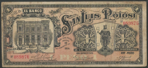 Imagen 1 de 2 de Mexico - San Luis Potosi, 1 Peso Feb 15 1914 Ps406
