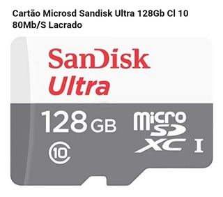 Cartão De Memória Micro Sd Sandisk Ultra 80 Mb/s C10 C/ Adap