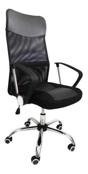 Cadeira de escritório Pelegrin 8009 ergonômica con estofado do couro sintético