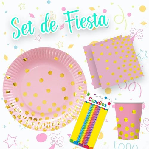 Imagen 1 de 4 de Set De Fiesta Para Cualquier Ocasión Rosa Con Lunares