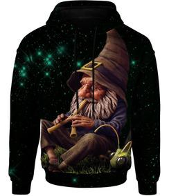 Blusa Moletom Gnomo Psicodélico Galáxia Tumblr Galaxy 3d