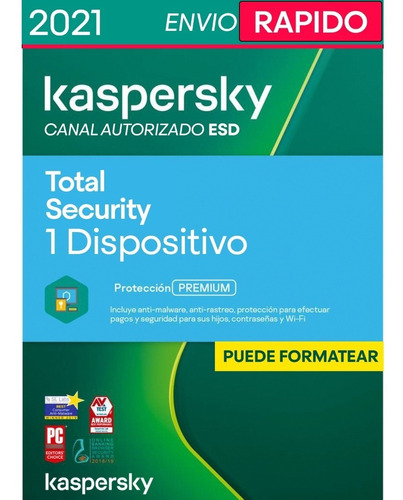 Imagen 1 de 4 de Kaspersky Total Security 1 Disp. 1 Año Licencia Original