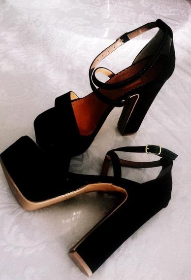 Sandalia Preta Salto 14cm Calçado De Luxo