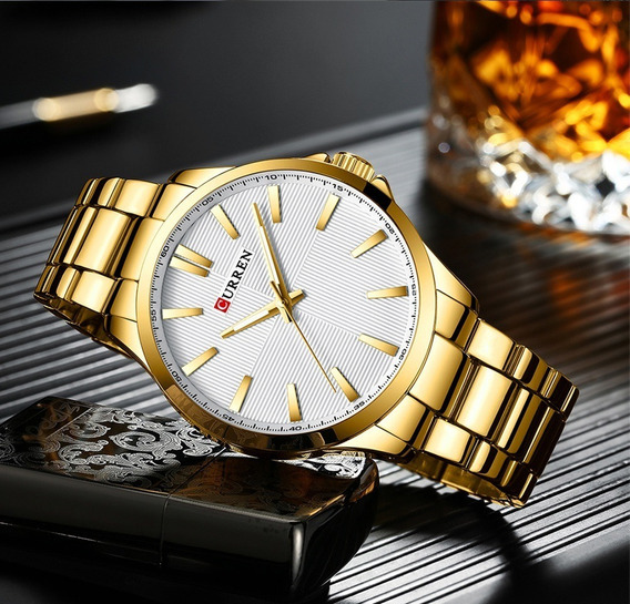 Relógio Masculino Pulso Curren Aço Inoxidável Branco Gold