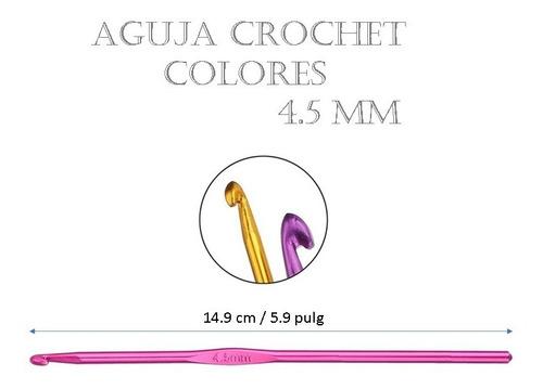 Imagen 1 de 5 de Aguja De Tejido Crochet Amigurumi Metálica Colores 4.5 Mm