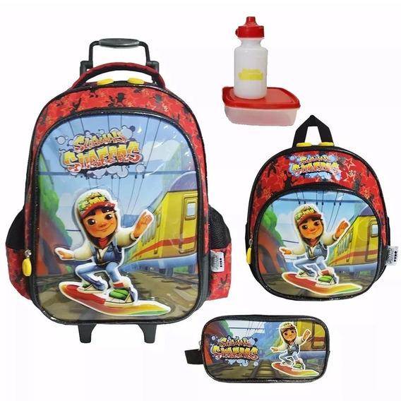 Kit Mochila Subway Surfers Infantil Tam G Original + Brinde