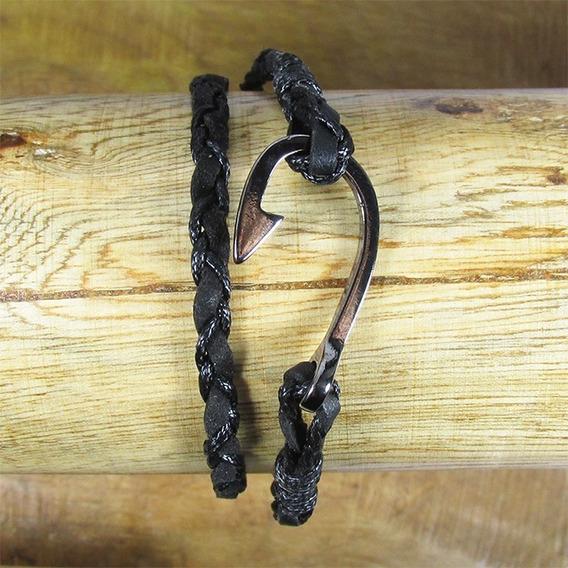 Pulseira Semijoia Masculina Fio Couro Preto Anzol Banho Ródio Negro