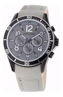 Reloj Police Hombre Cuero Gris Con Negro Pl12738jsbs/13