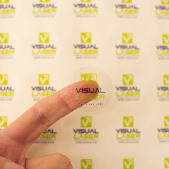 Adesivo Transparente Personalizado 2x2cm 100un Logo Festa