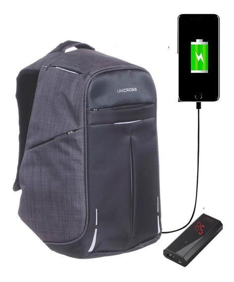 Mochila Antirrobo Porta Notebook Hombre Usb + Power Bank