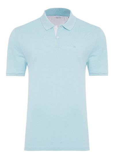 Calvin Klein White Label Camisa Polo Masculina - Azul Claro