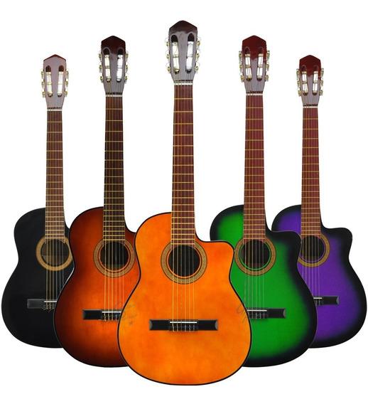 Guitarra Electro Criolla C/ Corte Acustica Funda Pua Colores