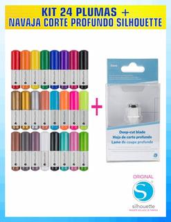 Plumas Silhouette Kit 24 Colores + Navaja Corte Profundo