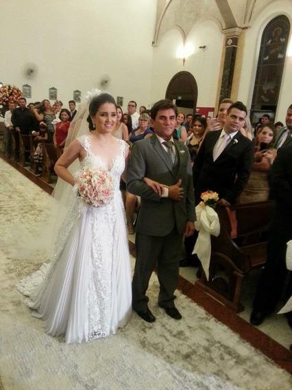 Vestido De Noiva Princesa Bordado Cristais Swarovski