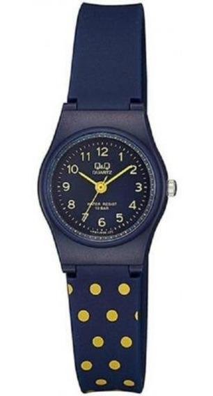 Relógio Infantil Feminino Azul E Amarelo Q&q Prova D