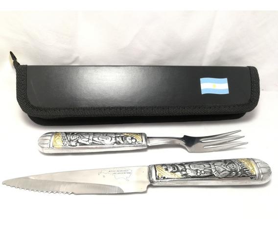 Juego De Asado Artesanal Cuchillo Y Tenedor + Estuche