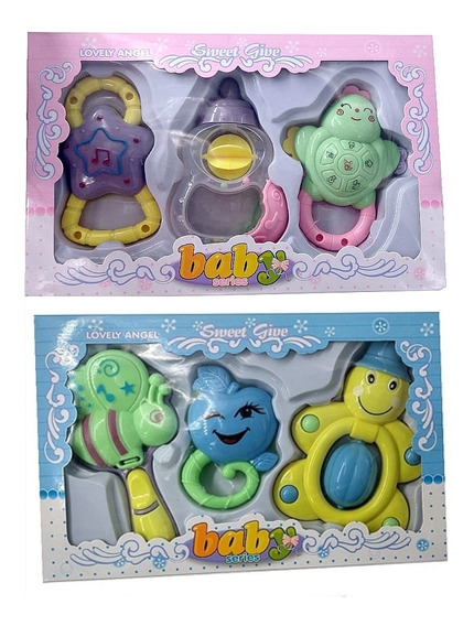 Chocalho Mordedor Brinquedos Musical Bebe Completo Gira Gira
