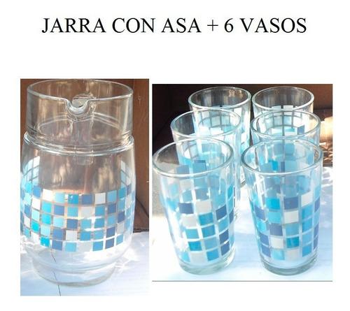Juego De Vasos Y Jarra De Vidrio 1.6 Litro 6 Vasos