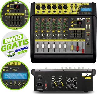 Consola Potenciada 6 Canales Skp Vz60 1600w Usb Sd Efectos