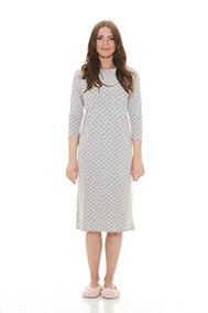 33d29f3e2a Esteez Mujeres Camison De Algodon Modesto Pajamas Ramo Gris