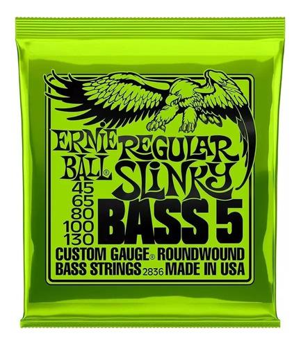 Imagen 1 de 4 de Paquete Cuerdas Ernie Ball Bajo 5 Regular Slinky 45-130 2836