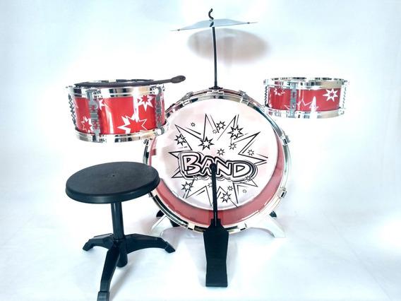 Bateria Musical Infantil 3 Tambores Com Banco - Big Band