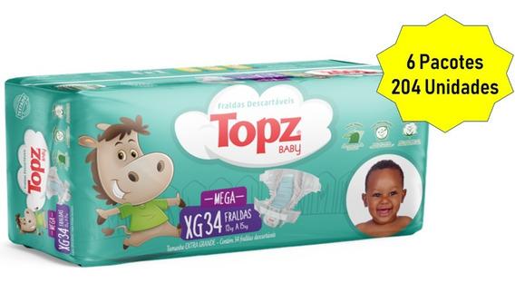 Kit Fralda Topz Baby Descartável Mega Pacotão Tam Xg 204 Und