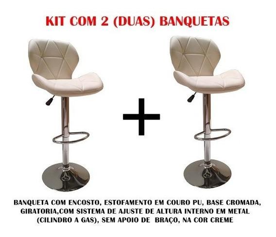 Kit 2 Banquetas Alta Bar Giratória Cozinha Lady Cor Creme Av