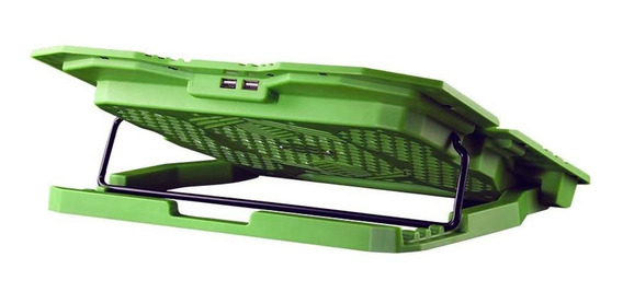 Base Para Notebook C 5 Coolers 2 Usb Led Warrior Verde