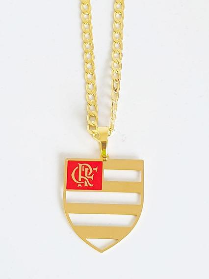 Corrente Cordão Pingente Flamengo 80 Cm Banhado Ouro C39p716