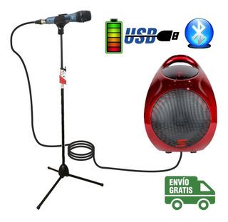 Combo Karaoke Bafle Parlante Usb Bt + Pie + Microfono Cuotas