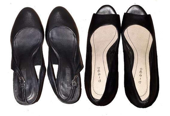 2 Pares Sapatos Salto Agulha 33 34 Sandália Seminovo Couro