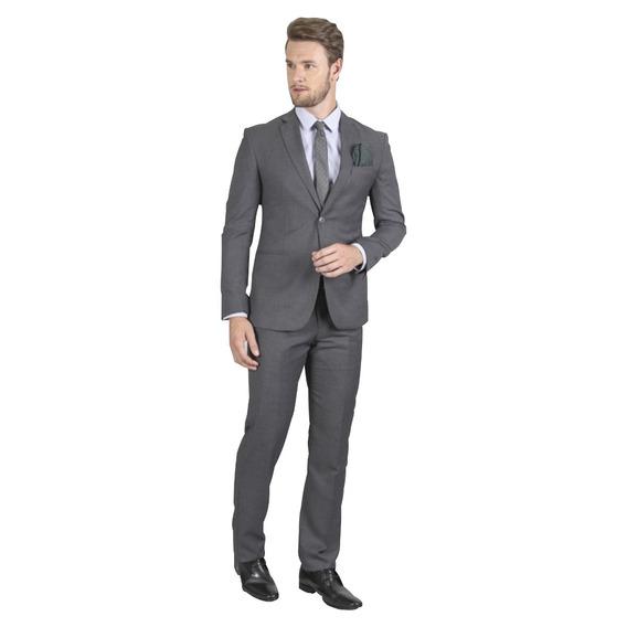 Terno Slim Masculino Oxford 2 Botoes + Sapato Social