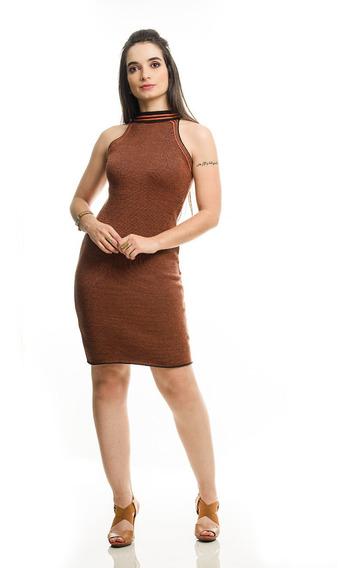 Vestido Modal Tricot Bandagem Listra Na Gola - Tam Único
