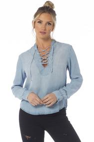 Camisa Feminina Solta Com Trançado Denim Zero - Dz11121