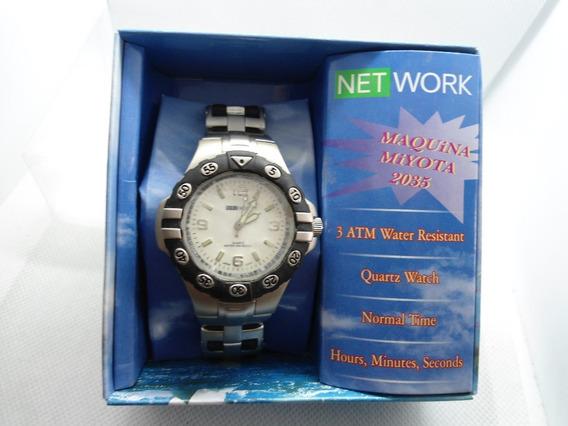 Relógio Net Work Com Maquina Miyota 2035 Novo