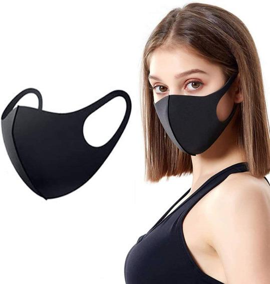 5 Cubrebocas Negro Premium Lavable Doble Capa Más Cómodo