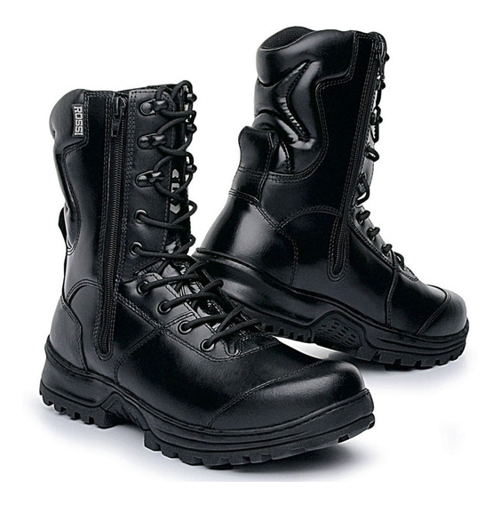 Coturno Bota Rossi 8100 Dois Zipers Couro Liso