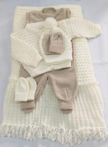 Saída Maternidade Tricot Unissex Off White/bege