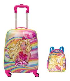 Kit Mochila Tipo Mala Barbie Dreamtopia Arco Íris Lancheira
