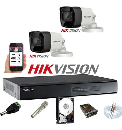Kit Hikvision 2 Cam Full Hd 1080p 2,8mm Dvr 4 7204 Turbohd