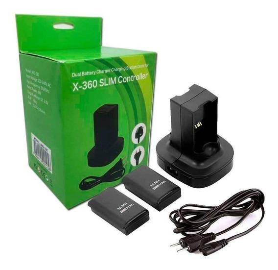 Carregador Duplo Com 2 Baterias Controle P/ Xbox 360 4800mah