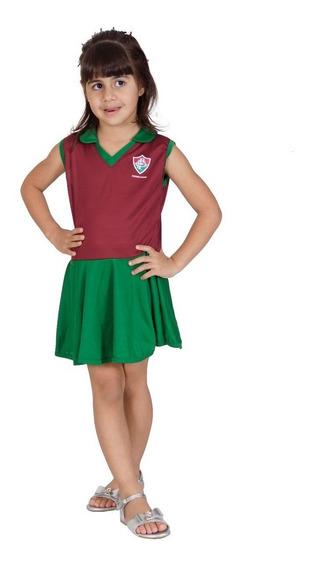Vestido Fluminense Infantil Grená Com Verde - Torcida Baby