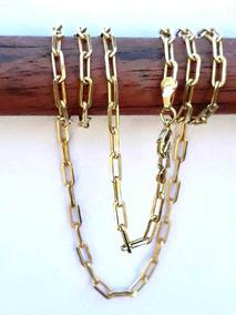 Corrente Cadeado Masculina Banhada Ouro Semi Joia 60cm Fg