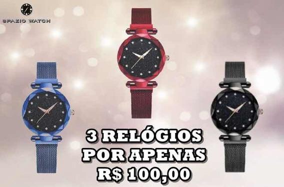 Kit 3 Relógios Feminino Com Fivela De Ímã C/ Céu Estrelado