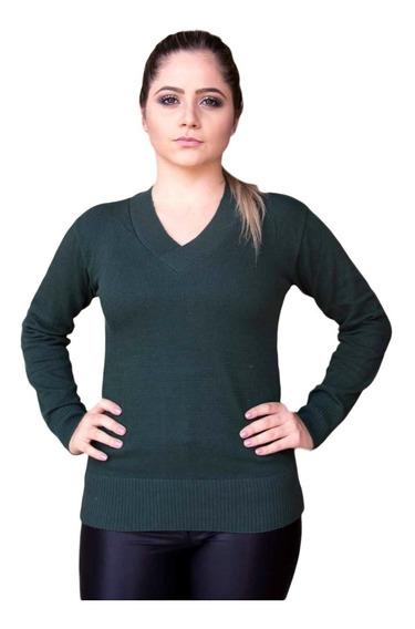Blusa Feminina Básica De Elastano Gola V Sueter Tricot Liso