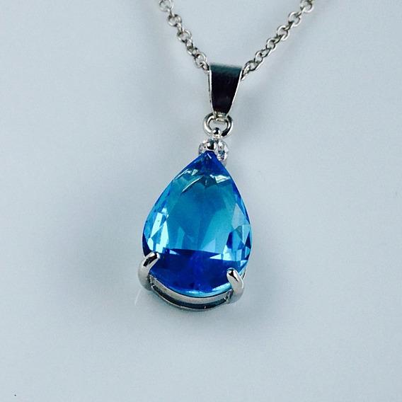 Colar Feminino Topazio Azul Ponto De Luz Gota Prata 925