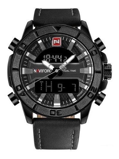 Relógio Naviforce Original Digital Analógico Nf9114 Couro