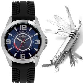 Relógio Condor Masculino Prata Pulseira Preta + Canivete Nfe